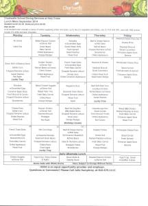 sept 2014 menu