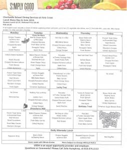 May-June 2015 menu